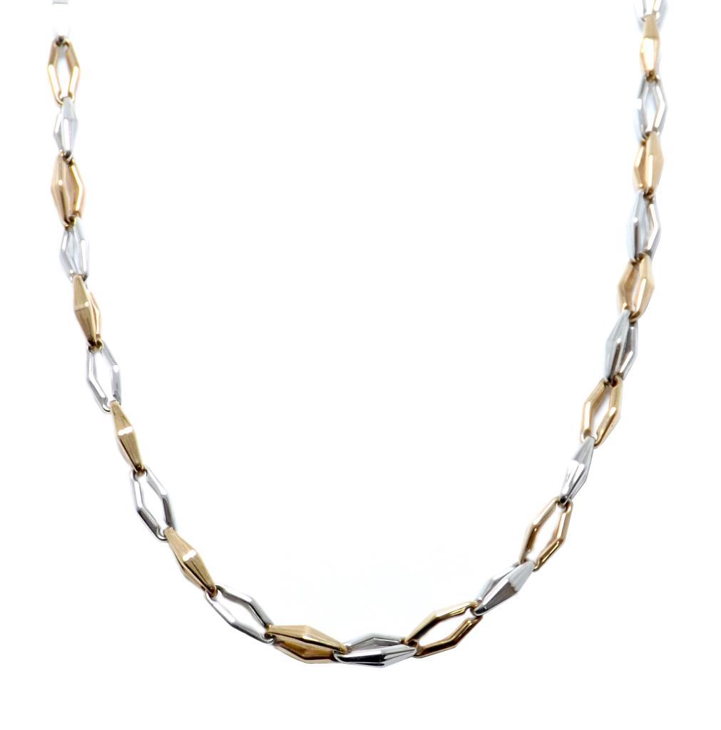 a basso prezzo 280aa 75827 Dettagli su Collana Catena da Uomo Donna Chimento in Oro Bianco e Rosa per  Battesimo Cresima
