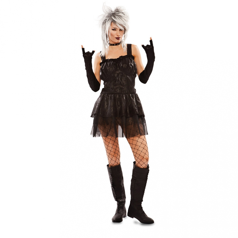 Costume Gotico Donna Nero Vestito Punk Dark Emo Rock Halloween Carnevale Ebay