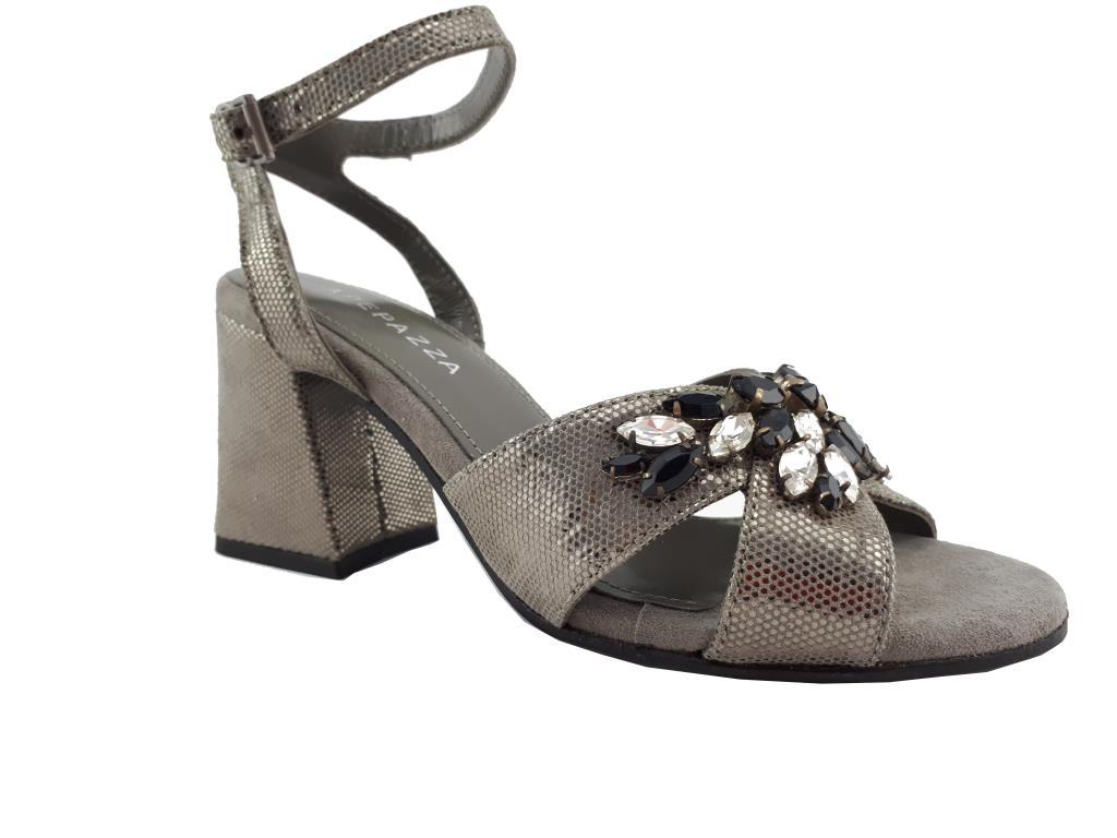 XLei D27 sandalo in pelle cuoio con perle e cinturino fibbiatacco largo 7 cm
